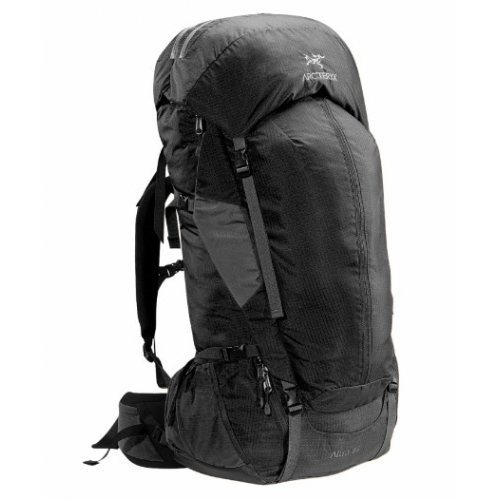 the acr'teryx altra 65 backpack is constructed of 210d nylon ripstop fabric with silicone