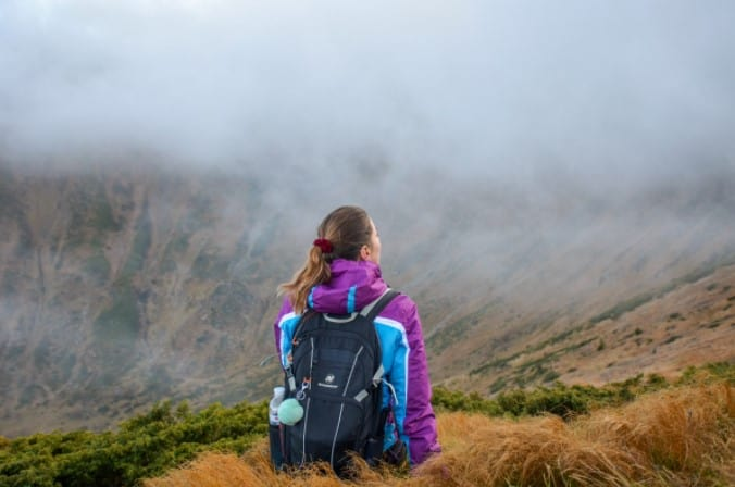 backpack on mountain
