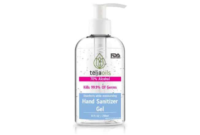 Hand sanitizer Gel 70% Alcohol by Teliaoils | Amazon